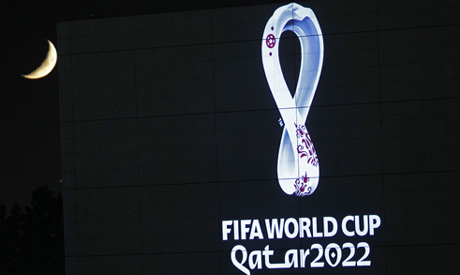 The 2022 Qatar World Cup logo is projected on the opera house of Algiers, Tuesday Sept.3, 2019. (AP)