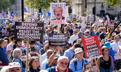 Protesters outside Downing Street, UK