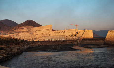 A general view of the the Grand Ethiopian Renaissance Dam (GERD), near Guba in Ethiopia (AFP)