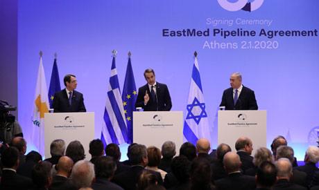Cypriot President Nicos Anastasiades, Greek Prime Minister Kyriakos Mitsotakis and Israeli Prime Min