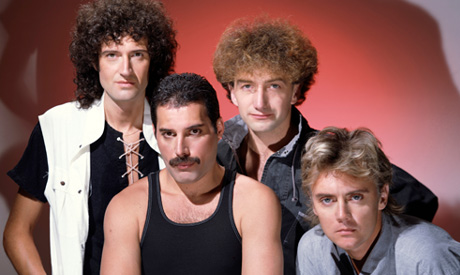 Members Brian May, Roger Taylor, Freddie Mercury and John Deacon of band Queen pose in this undated