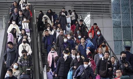Passengers wearing masks