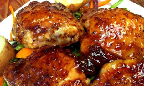 Apricot glazed chicken thighs