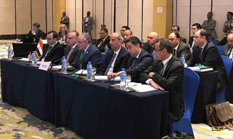 The Egyptian delegation headed by the Minister of Water Resources and Irrigation Mohamed Abdel-Ati d