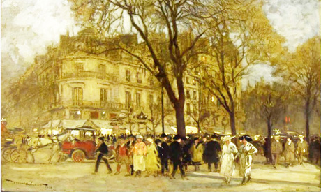 A Crowd in a Square, Oil on canvas by Marcel-Clément (French), 1873