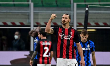 Ac Milan Swedish forward Zlatan Ibrahimovic celebrates after winning the Italian Serie A football ma
