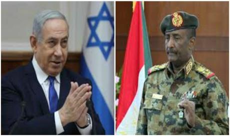 Benjamin Netanyahu and Abdel Fattah Al-Burhan