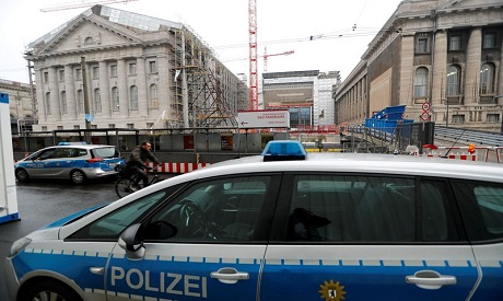 A police car is pictured in front of the Pergamonmuseum in Berlin.