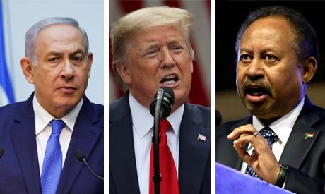 Israeli Prime Minister Benjamin Netanyahu, U.S. President Donald Trump and Sudanese Prime Minister A