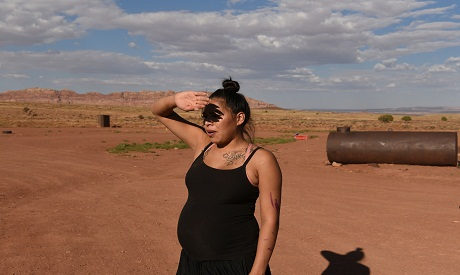a Lady in the desert