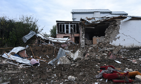 A view shows a house damaged by recent shelling during a military conflict over the breakaway region