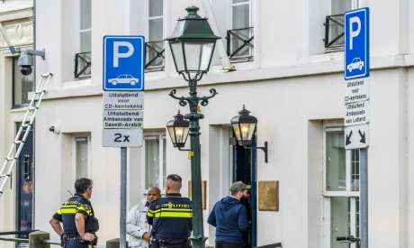 Police investigate outside the Embassy of Saudi Arabia in The Hague