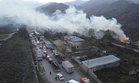 Armenia Azerbaijan Burning Houses AP