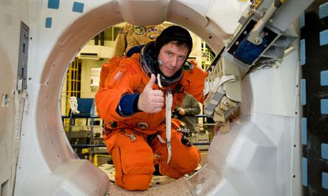 Astronaut Roberto Vittori during a training session pillars