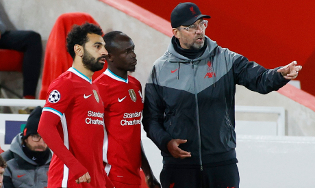 Jurgen Klopp, Mohamed Salah and Sadio Mane