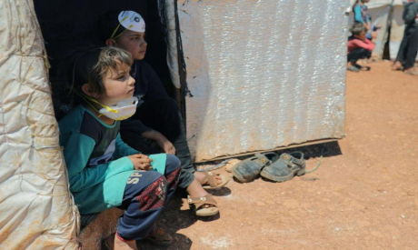 Displaced children at a camp in Syria