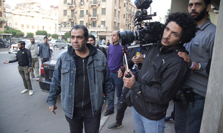 Rashwan (left) during the shooting of Fragile