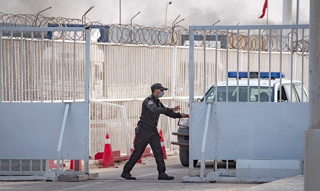 A Moroccan soldier is pictured at a border crossing point between Morocco and Mauritania in Guerguer