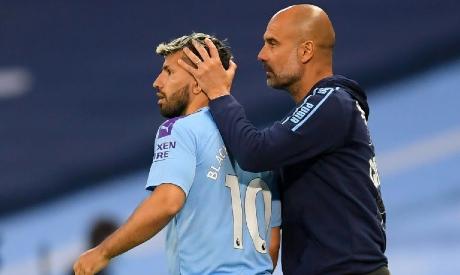 Pep Guardiola and Sergio Aguero