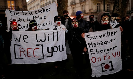 Protests in Paris, France