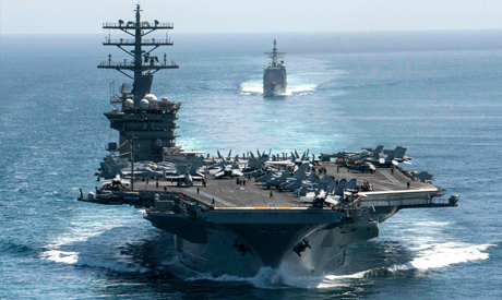 (FILES) This handout file photo courtesy of US Navy shows the aircraft carrier USS Nimitz and the gu