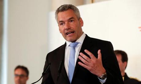 FILE PHOTO: Austrian Interior Minister Karl Nehammer addresses a news conference in Vienna, Austria