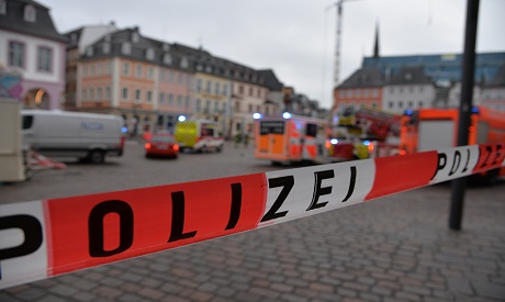 A square is blocked by the police in Trier, Germany. AP