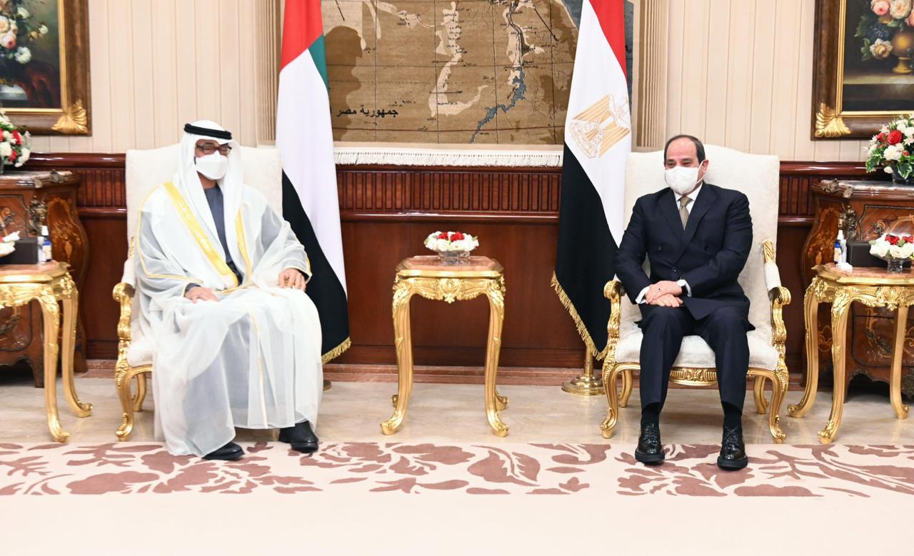 President Abdel-Fattah El-Sisi and Abu-Dhabi Crown Prince Mohammed Bin Zayed Al-Nahyan