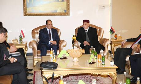 Abbas Kamel with head of the Libyan House of Representatives Aguila Saleh