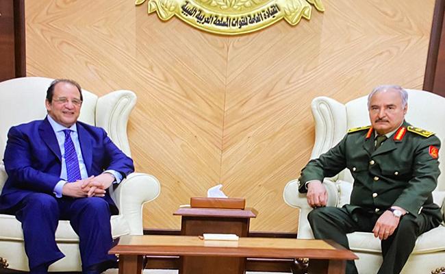 Abbas Kamel  with the commander of the Libyan National Army Khalifa Haftar