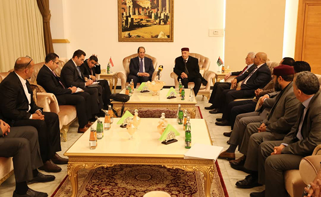 Abbas Kamel with head of the Libyan House of Representatives Aguila Saleh and a number of MPs