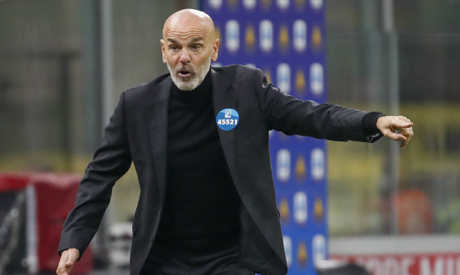 File photo, AC Milan manager Stefano Pioli calls out to his players during a Serie A soccer match be