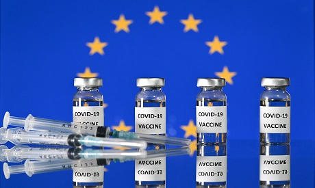 Vials with Covid-19 Vaccine stickers