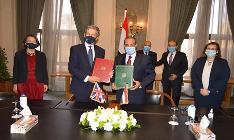 The signing of the UK-Egypt Association Agreement in Cairo on Saturday (photo courtesy of Egyptian m