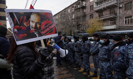 Armenian protests demanding resignation of P M Pashinyan REUTERS