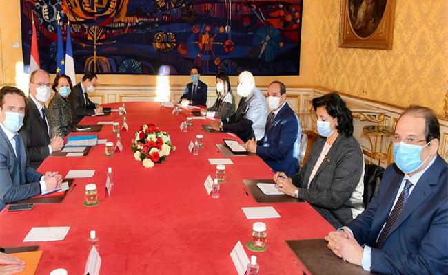 President Abdel-Fattah El-Sisi with Prime Minister of France