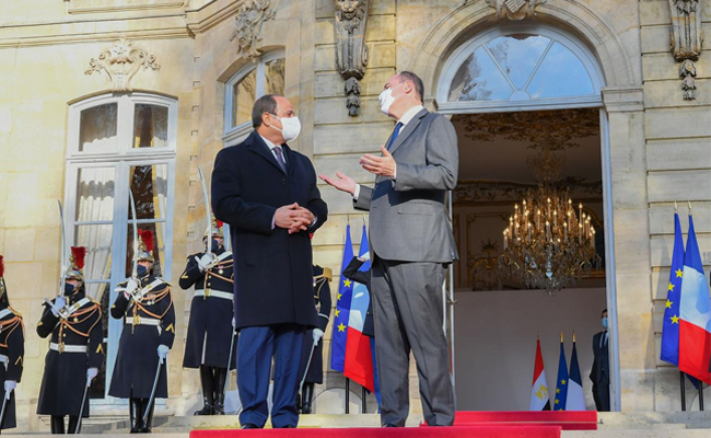 President Abdel-Fattah El-Sisi with Prime Minister of France