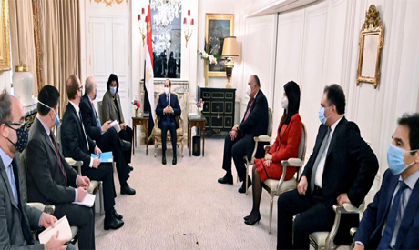 President Abdel-Fattah El-Sisi during his meeting with Secretary-General of the Organisation for Eco