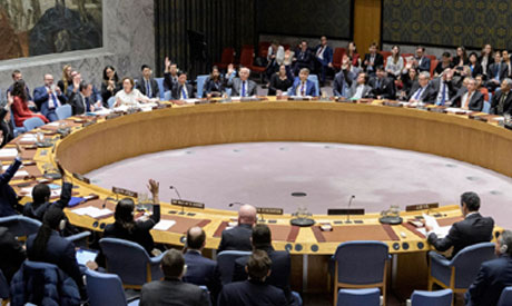A wide view of the UN Security Council chamber as members vote to adopt resolution 2510 on Libya. (P