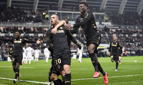 Islam Slimani celebrates after scoring against Amiens February 8, 2020. (Reuters)