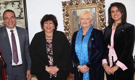 Egyptian-French Friendship Association member Ayman Abu El-Ela, Culture Minister Ines Abdel-Dayem, H