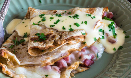 Pancakes with beef ham and cheese