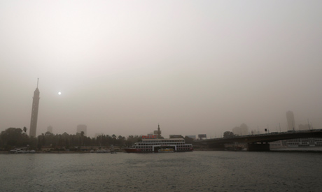 A general view of the capital city of Cairo with Nile River during a massive sandstorm, Egypt  (Reut