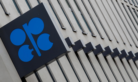 The logo of the Organisation of the Petroleum Exporting Countries (OPEC) sits outside its headquarte
