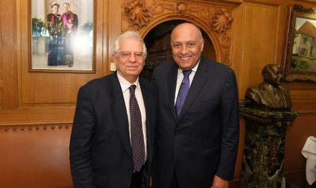 Sameh Shoukry and Josep Borrell