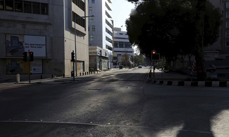 A main street is seen empty street in Cyprus