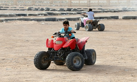Saudi child rides buggy in Riyadh