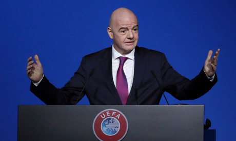 FIFA President Gianni Infantino during the UEFA Congress (Reuters)