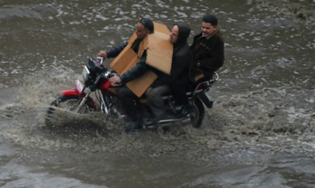 Sheltering rain victims