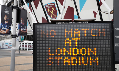 General view outside the London Stadium as the Premier League is suspended due to the number of coro